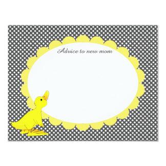 """Tarjeta Ducky amarilla linda del consejo de la Invitación 4.25"""" X 5.5"""""""