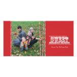 Tarjeta dulce de la foto del navidad del bastón de plantilla para tarjeta de foto