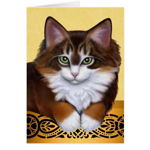 Tarjeta dulce del gatito del Coon de Maine