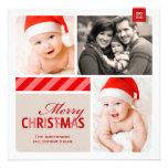 Tarjeta el | de la foto de las Felices Navidad roj Comunicados Personalizados