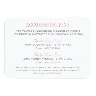 Tarjeta el | del alojamiento del boda rosado y invitación 8,9 x 12,7 cm