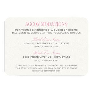 Tarjeta el | del alojamiento del boda rosado y comunicado