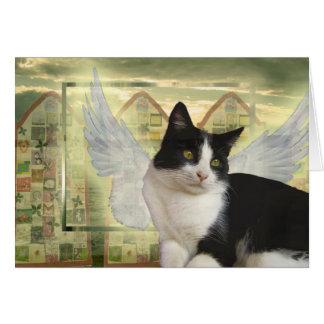 Tarjeta el | del gato del ángel con la condolencia