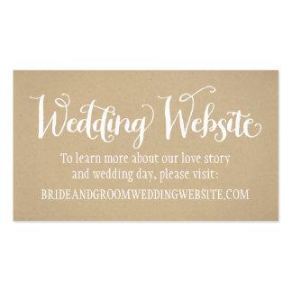 Tarjeta el | Kraft Brown del Web site del boda Tarjetas De Visita