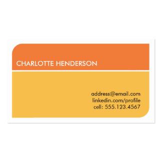 Tarjeta elegante anaranjada soleada del curriculum tarjetas de negocios
