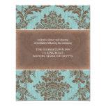 Tarjeta elegante azul de la recepción del damasco invitacion personalizada