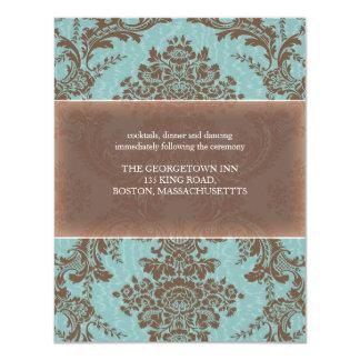 """Tarjeta elegante azul de la recepción del damasco invitación 4.25"""" x 5.5"""""""