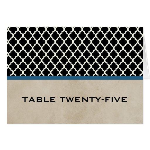 Tarjeta elegante azul del número de la tabla de Qu