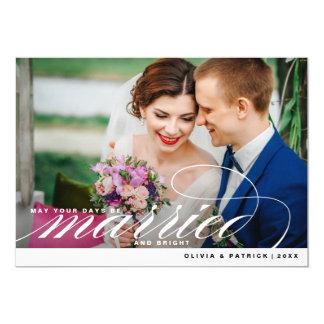 """Tarjeta elegante casada y brillante de la foto del invitación 5"""" x 7"""""""