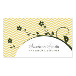Tarjeta elegante con flores verdes y chevrón plantillas de tarjeta de negocio