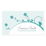 Tarjeta elegante con flores verdes y chevrón tarjeta de visita