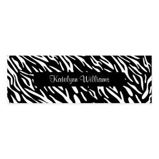 Tarjeta elegante de la cita del estampado de zebra tarjetas de visita mini