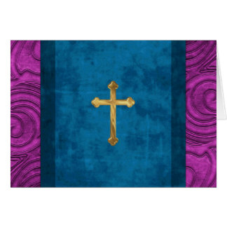 Tarjeta elegante de la cruz del oro de la mirada d