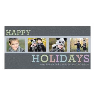 Tarjeta elegante de la foto de 4 de la foto navida tarjetas con fotos personalizadas