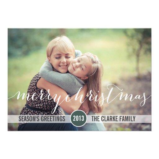 Tarjeta elegante de la foto de las Felices Navidad Invitacion Personalizada