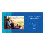Tarjeta elegante de la foto del Año Nuevo - azul Tarjetas Fotográficas