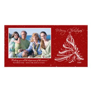 Tarjeta elegante de la foto del navidad de la fami tarjeta fotografica personalizada