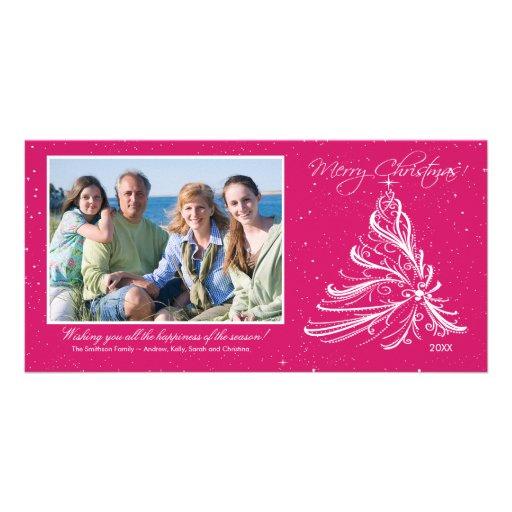 Tarjeta elegante de la foto del navidad de la fami tarjeta fotográfica personalizada