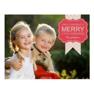 Tarjeta elegante de la foto del navidad del adorno postales