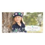 Tarjeta elegante de la foto del navidad del copo d tarjetas fotográficas personalizadas