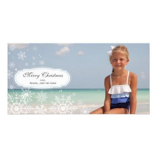 Tarjeta elegante de la foto del navidad del copo d tarjetas personales con fotos