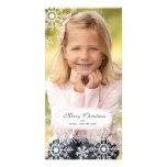 Tarjeta elegante de la foto del navidad del copo d plantilla para tarjeta de foto