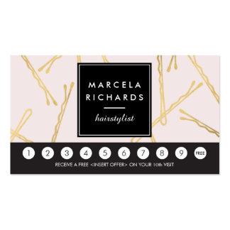 Tarjeta elegante de la lealtad del rosa del salón tarjetas de visita