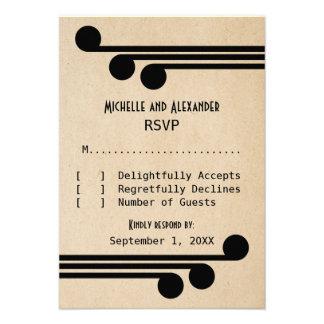 Tarjeta elegante de la respuesta de Deco del negro Invitación Personalizada