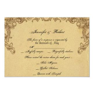 """Tarjeta elegante de la respuesta del boda del pavo invitación 3.5"""" x 5"""""""