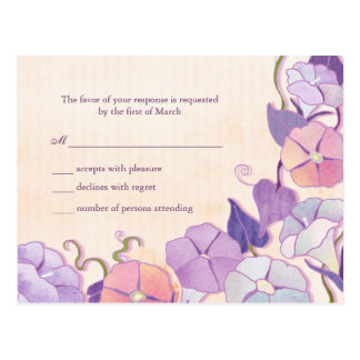 Tarjeta elegante de la respuesta del boda postales