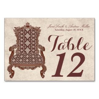 Tarjeta elegante de la tabla de tarjeta del número