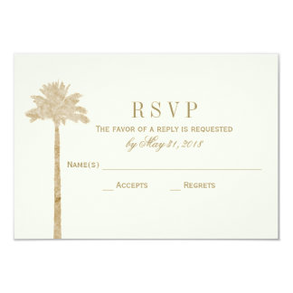 Tarjeta elegante de RSVP de la palma Invitación 8,9 X 12,7 Cm