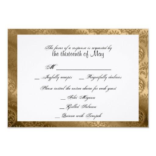 """Tarjeta elegante de seda de la respuesta del boda invitación 3.5"""" x 5"""""""