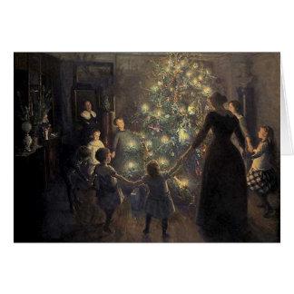 Tarjeta elegante del árbol de navidad del vintage