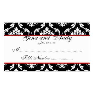 Tarjeta elegante del asiento del boda del damasco plantillas de tarjetas personales