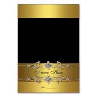 Tarjeta elegante del asiento del negro y del oro