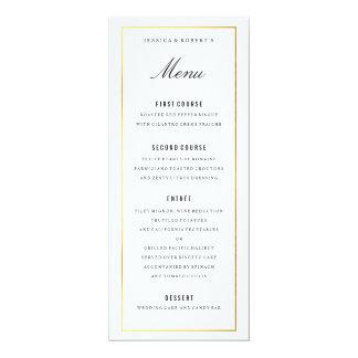 """Tarjeta elegante del menú del boda de la frontera invitación 4"""" x 9.25"""""""