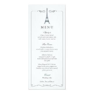 Tarjeta elegante del menú del boda de la torre invitación 10,1 x 23,5 cm