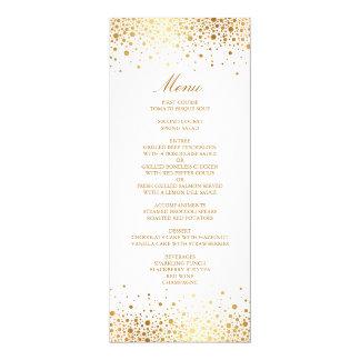 """Tarjeta elegante del menú del falso de oro confeti invitación 4"""" x 9.25"""""""