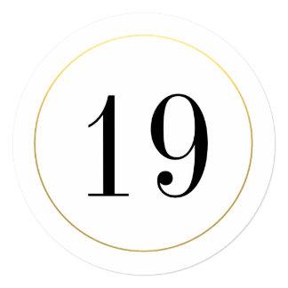 """Tarjeta elegante del número de la tabla de círculo invitación 5.25"""" x 5.25"""""""