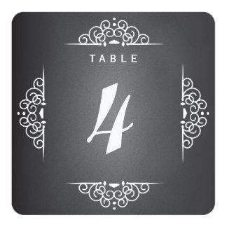 Tarjeta elegante del número de la tabla del boda comunicados personales