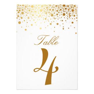 Tarjeta elegante del número de la tabla del falso comunicados personalizados