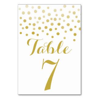 Tarjeta elegante del número de la tabla del falso