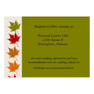 Tarjeta elegante del recinto del boda de la caída plantilla de tarjeta de visita