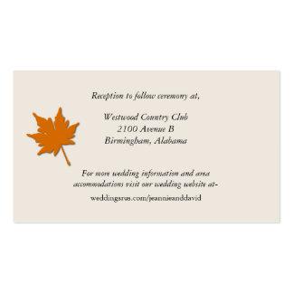 Tarjeta elegante del recinto del boda de la caída plantilla de tarjeta de negocio