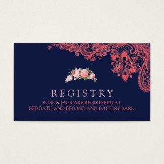 Tarjeta elegante del registro de la marina de tarjetas de visita