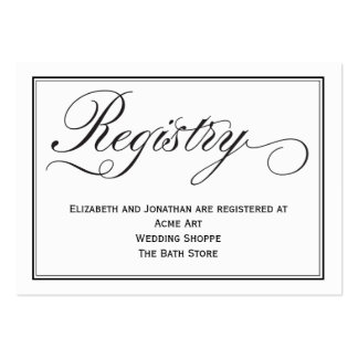 Tarjeta elegante del registro del boda de la tarjetas de visita grandes