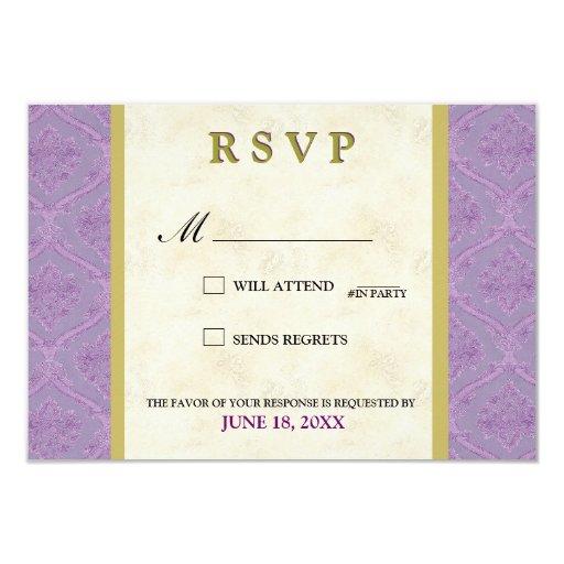 """tarjeta elegante del rsvp del boda de la lila y invitación 3.5"""" x 5"""""""