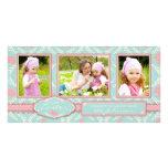 Tarjeta elegante del trío de la foto del conejito tarjetas con fotos personalizadas
