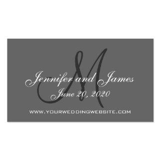 Tarjeta elegante del Web site del boda del gris de Tarjetas Personales